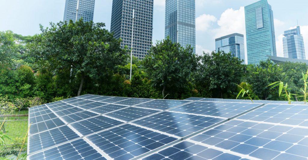 VEEC mid scale solar - solar panels next to business buildings - Northmore Gordon