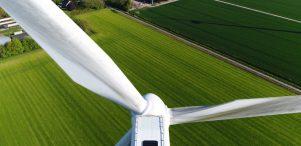 Aerial,Close,Up,Photo,Of,Wind,Turbine,Providing,Sustainable,Energy